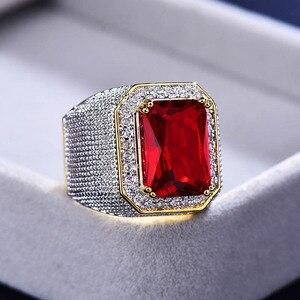 Image 5 - Bague ringen luxo 100% anel de prata esterlina com retângulo rubi pedra preciosa charme anel de prata masculino jóias festa presente atacado