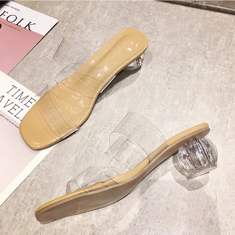 Summer Clear PVC Transparent Slippers Women Shoes Crystal Slides Square Toe Mid Heel Slippers Mules Femme Party Dress Pumps