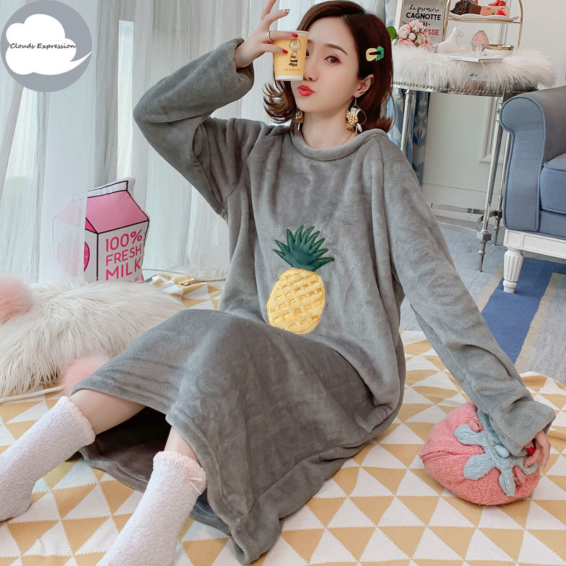 Winter Long Sleeves Women Warm Sleepwear Coral Velvet Nightgown Loose Sleepshirts Wear Long Sleep&Lounge Dress Flannel Nightwear