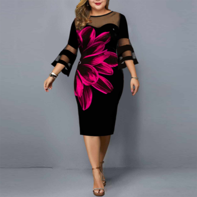 floral dress mesh neck and sleeves knee hi 1