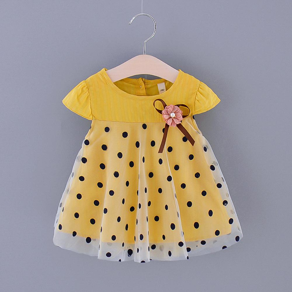 Fly Sleeve Bow Dot Printed Tulle For Infant Baby Girls Dress Summer Cute Princess Dress Kids Baby Girl Dress Clothes RL2