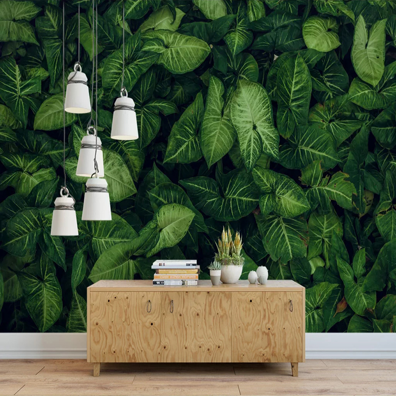 Custom Any Size Large Mural Wallpaper Tropical Rainforest Green Leaves Bedroom Living Room Dining Room Decor Photo Wall Paper 3D