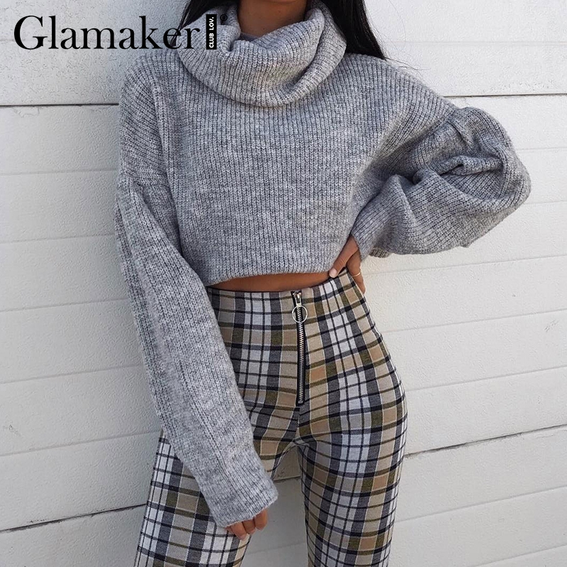 Glamaker Grey Knitted Turtleneck Short Sweater Women Autumn Pull Crop Sweater Ladies Jumper Winter Female Pull Knitwear Pullover