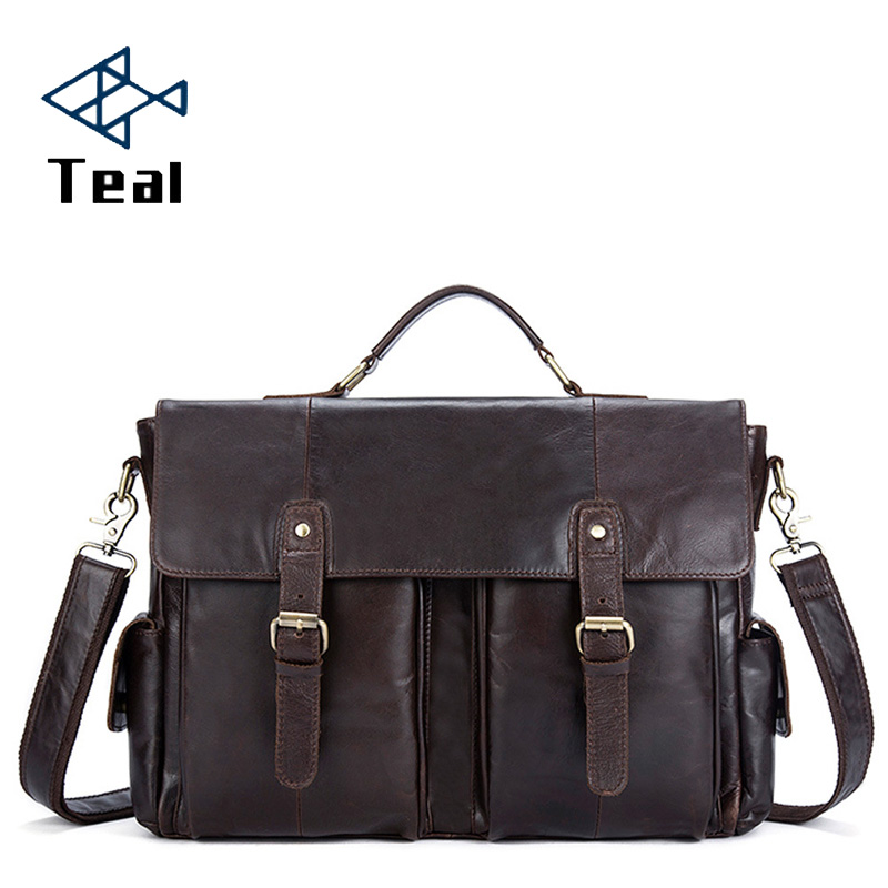 Men Briefcases Genuine Leather Laptop Bag Business Crazy Horse Leather Men's Briefcases Office Bags For Men Messenger Bags