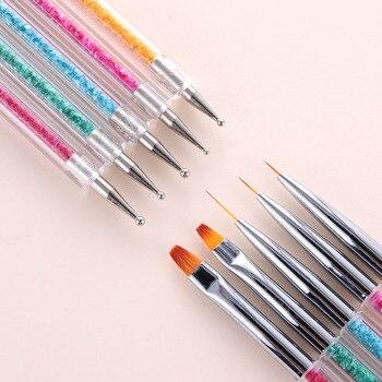 Juego de pinceles de dos cabezas para Nail Art, cepillo de tallado de fibra de acero inoxidable, lentejuelas, mango acrílico, Gel UV, dibujo polaco, 5 unidades