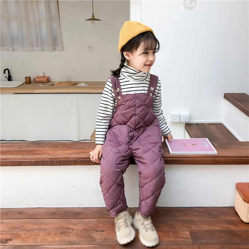 Kids Overalls Pants Boys Girls Pocket Warm Winter Overalls Jumpsuits Baby Clothing Jumpsuits Girls Overall 0-5T