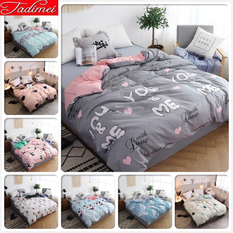 1 Piece Duvet Cover Adult Kids Soft Cotton High Quality Bedding Bag Single Twin Full Queen King Size Bedspreads 150x200 220x240