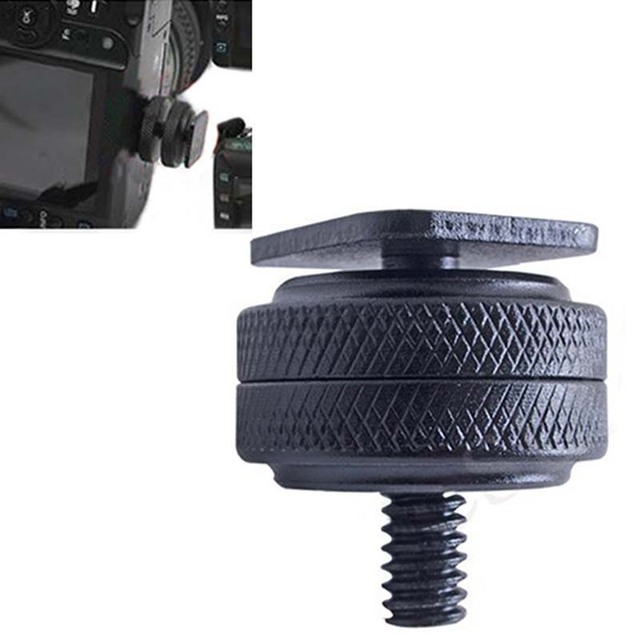 Pro 1 4 #8222 podwójne nakrętki śruba mocująca do statywu czarny do lampy błyskowej Adapter gorącej stopki do akcesoriów do studia fotograficznego tanie tanio KOQZM CN (pochodzenie) hot shoe adapter
