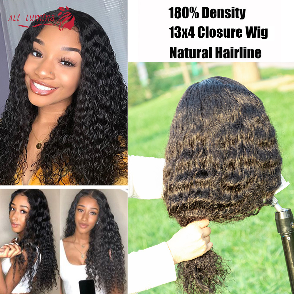 13x4 Lace Front  Wigs  Water Wave Lace Wigs Pre Plucked 4x4 Lace Closure Wigs With Baby Hair Curly Wigs 4