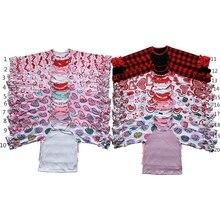 НОВАЯ РОЖДЕСТВЕНСКАЯ клетчатая футболка с оборкой в виде буйвола для маленьких девочек, рубашка с длинными рукавами реглан в форме сердца и пасхальным яйцом с монограммой