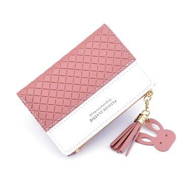 New Korean women's wallet female short thin contrast color embossed zipper tassel coin purse student wallet wallet недорого