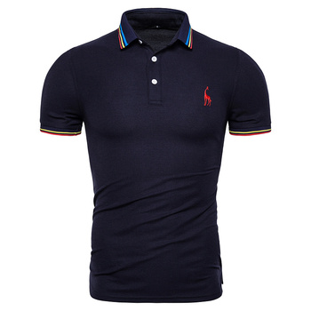New Summer Cotton Polo Men Solid Deer Embroidery Short Sleeve Polo Shirt Men Fashion Polo Giraffe Mens Shirts Men's Clothing & Accessories