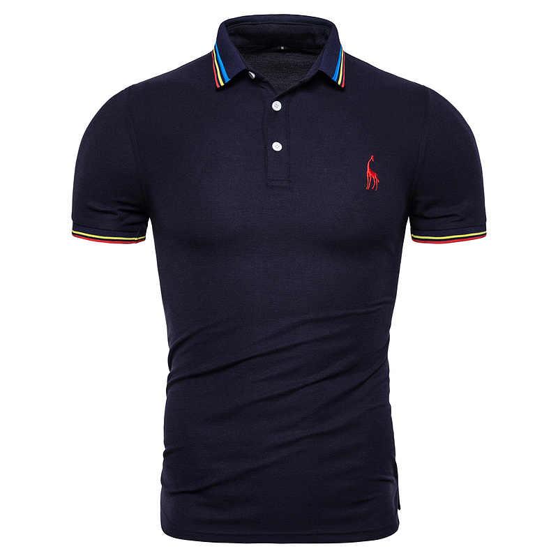 Dropshipping 2019 nowa letnia bawełna Polo mężczyźni solidna Deer haft koszulka Polo z krótkim rękawem koszula mężczyźni moda Polo żyrafa męskie koszule