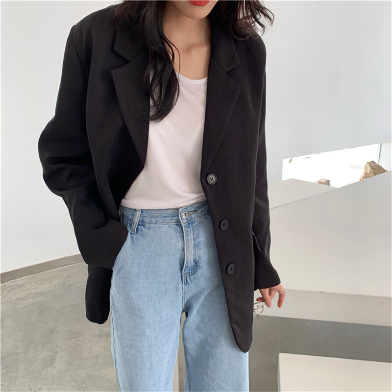 HziriP Fashion Black Lapel Basic Brief OL 2020 Loose High Quality All Match Hot Brief Casual Solid Women Office Lady Blazers