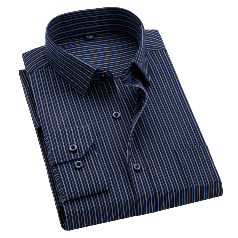 Classical Striped Men Shirts Long Sleeve Square Collar Easy Care Non-iron Business Male Tops