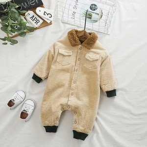 Image 2 - SINGBAIL Baby Rompers Winter Baby Boys Jumpsuits Corduroy Infant Girls Rompers Winter Baby Outfit Thicken Lining Baby Rompers Y0