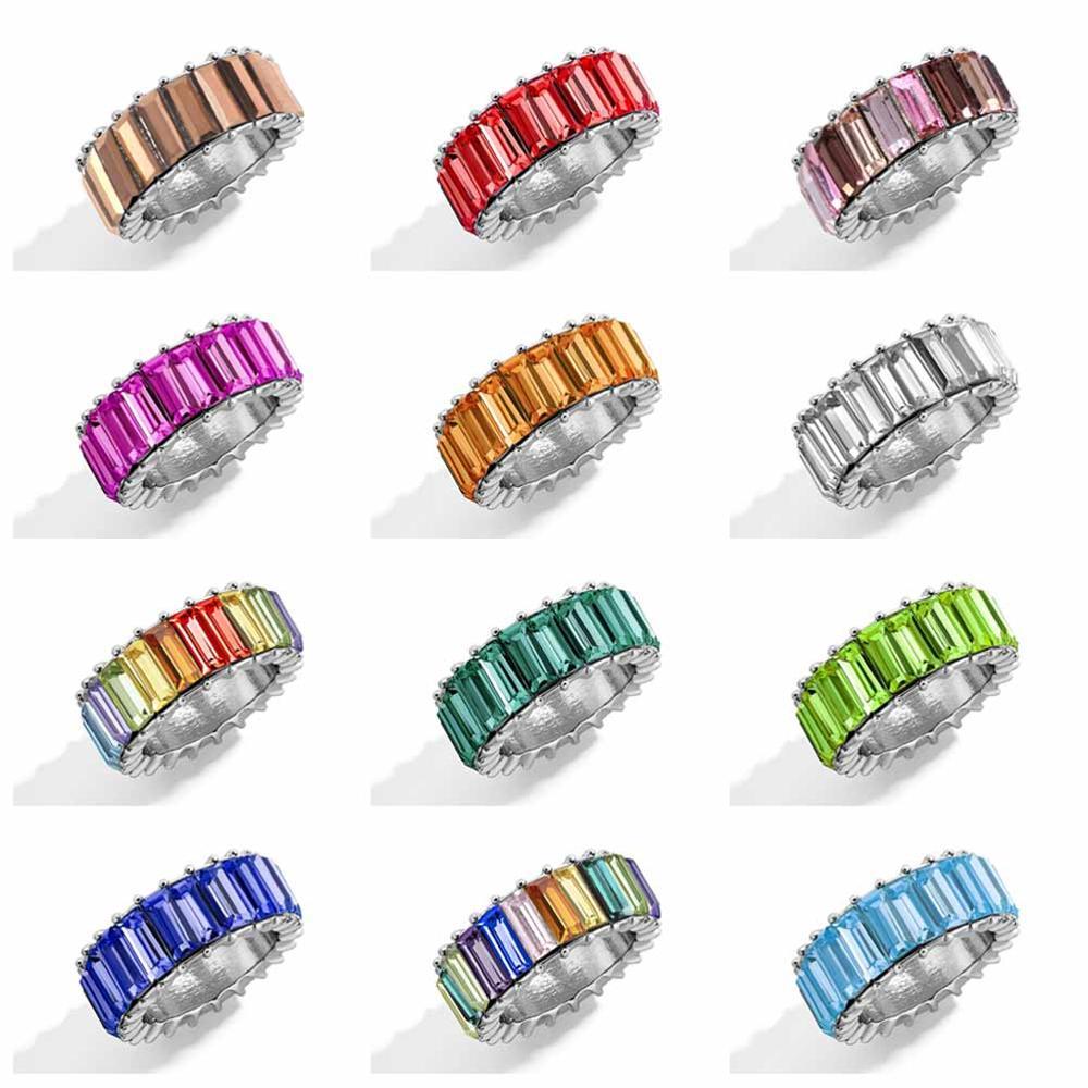 Boho Female Big Crystal Zircon Stone Ring Luxury Gold Rainbow Color Baguette Statement Wedding Rings Bohemian Fashion Jewelry