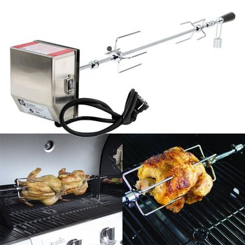 4W Stainless Steel Rotisserie BBQ Grill Roaster Spit Rod Motor Set Meat Fork Camping Charcoal Grill Kits BBQ Tools Cookware