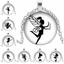 2019 Hot Sale Glass Cabochon Wing Girl Ballet Dancer Silhouette Glass Dome Ladies Necklace Pendant