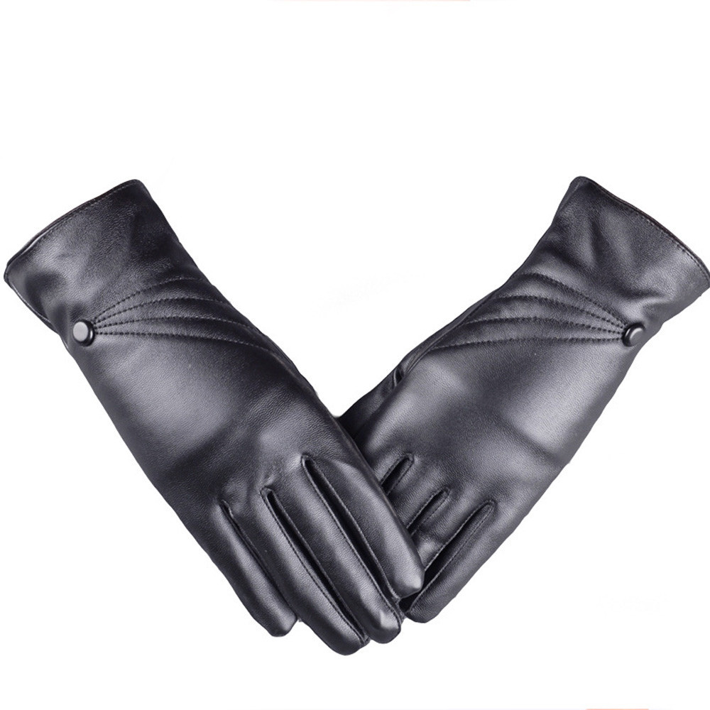 2020 Autumn Winter Luxurious Women Girl Leather Winter Super Warm Gloves Cashmere Women Black Gloves Winter Warmer Keep Warm#11