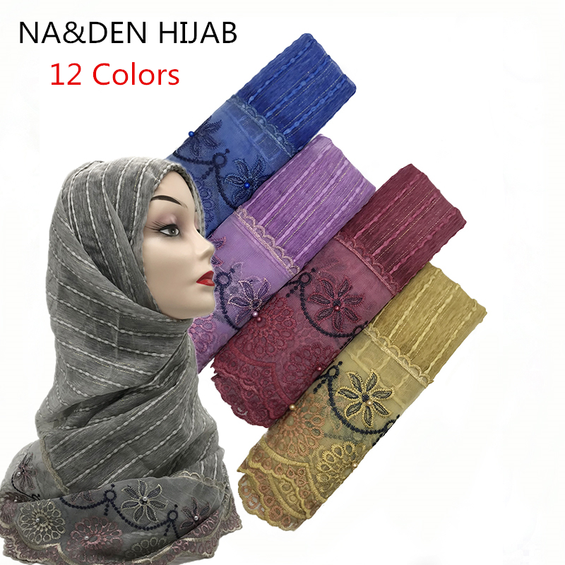10pcs Viscose Scarf Women's Fashion Lace Embroidery Large Sunscreen Shawls Wraps Lightweight Flowers Pattern Wraps For Woman