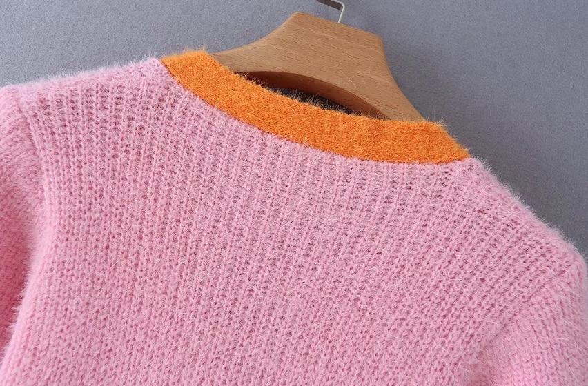 Pink cardigan womens sweaters korean crop sweater yellow autumn tops short sleeve v neck short cardigan mohair sweater fall 19 9