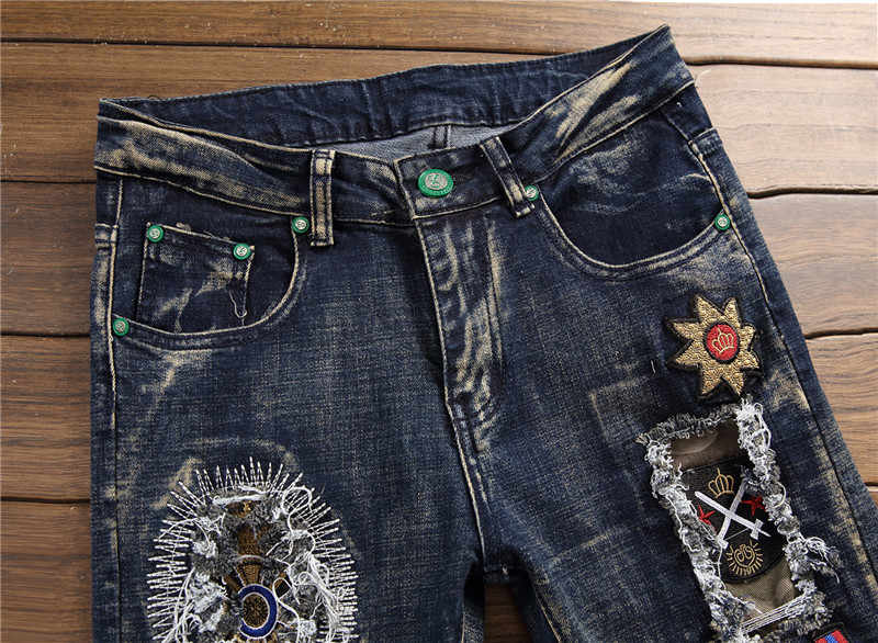 2019 خريف شتاء الرجال المرقعة ممزق مطرزة جينز سترتش العصرية ثقوب مستقيم الدينيم Trouers