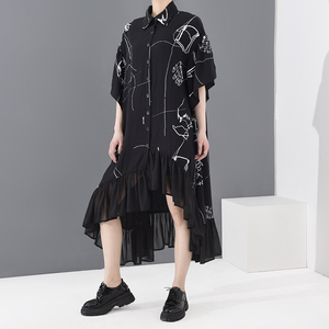 [EAM] Women Pattern Printed Asymmetrical Chiffon Big Size Dress New Lapel Half Sleeve Loose Fashion Spring Summer 2020 1T42901
