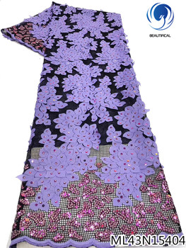 BEAUTIFICAL nigerian net lace with sequins mesh embroidery african lace for party tulle tissu laces 5 yards ML43N154