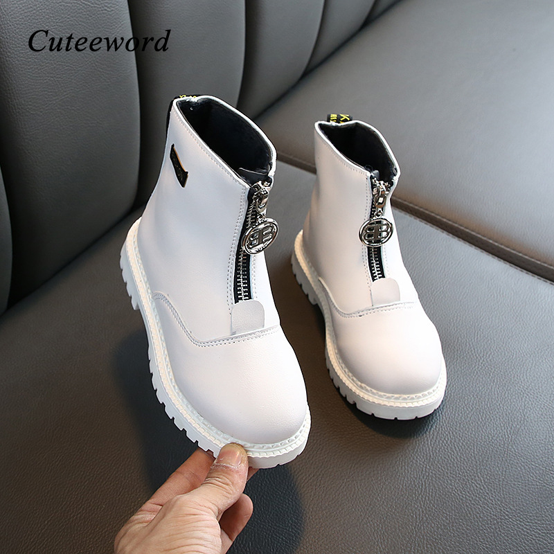Fashion Leather Girls Martin Boots Zipper Children Ankle Boots 2019 Autumn And Winter New Plus Velvet Waterproof Kids Boys Shoes