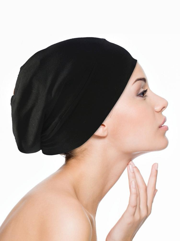 Wide Band Women's Sleep Cap Satin Lined High Elastic Nightcap Ladies Hair Care Hat