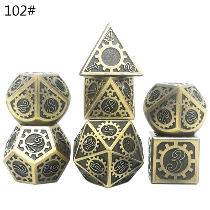 <font><b>Metal</b></font> Dice Set D&D <font><b>Metal</b></font> Polyhedral Dice Set DND RPG Role Playing Games Board Game D4 D6 D8 D10 D12 <font><b>D20</b></font> image