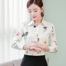 Korean Women Shirts Chiffon Women Blouses Elegant Office Lady Print Shirt Plus Size Blusas Mujer De Moda Woman Long Sleeve Shirt