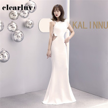 Party-Gown Mermaid-Dress Slim Formal Elegant Long One-Shoulder Plus-Size Simple Stylish