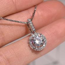 Серебряное ожерелье из стерлингового серебра s925 пробы с бриллиантом