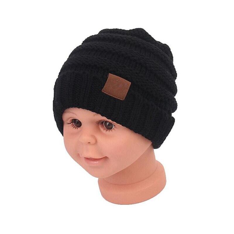 Winter Caps For Children Solid Warm Baby Beanie Crochet Kids Boy Girls Handmade Cute Knitted Skullies Cap Children With CC