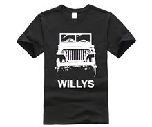 Short Sleeve Cool Casual Car Fans 1941 Jeep Willys MB Grill View with Model Dark Color T Shirt O-Neck Men