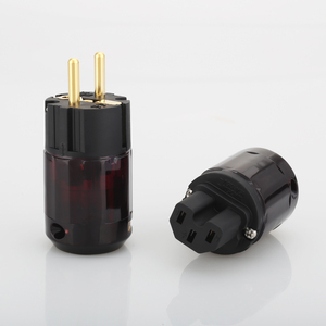 Image 1 - Free Shipping 1Pair P 079E+C079 AC power cable plugs 24k Gold Plated SCHUKO Power Plug