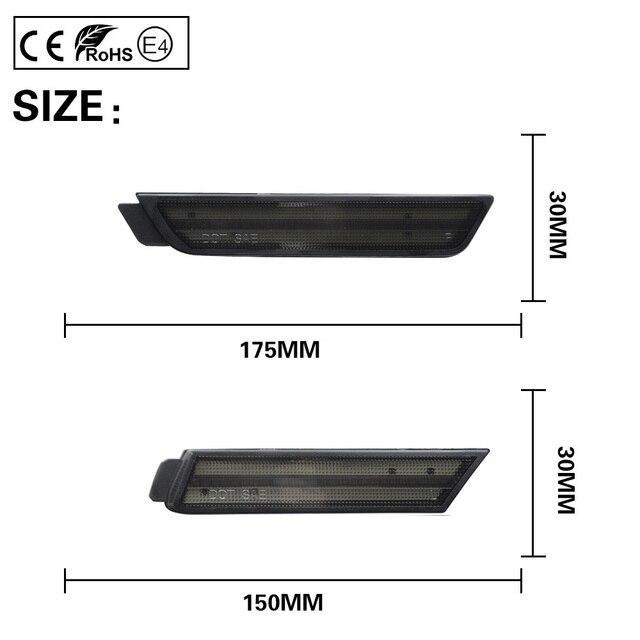 4 Uds piezas de coche lente de humo frontal + luz LED de posición lateral ámbar rojo versión de EE. UU. Para Chevrolet Camaro 2010-2015