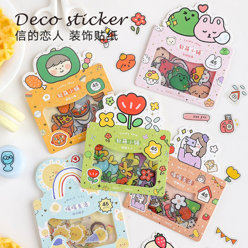Lovely Shop Series Journal Decorative PVC Stickers Scrapbooking Stick Label Diary Stationery Album Funny Flower Stickers