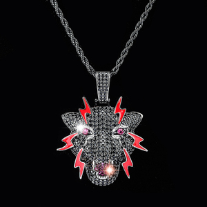 Image 1 - TOPGRILLZ  Leopard Pendant  With 4 MM Tennis Chain CZ Stone Panther Necklace Iced out Chain Hip Hop Jewelry Men Party Gifts