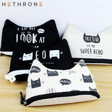 Hethrone Handmade Cat's secret ear shape Pencil bag for school stationery bag printing Gel pen Pencil pouch case supplies(China)