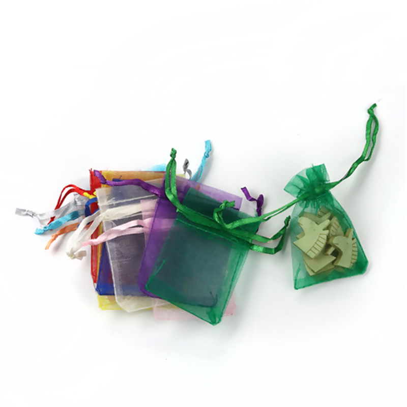 Doreen Box Organza Jewelry Bags Drawstring Rectangle At Random (Usable Space: 5.5x5cm) 7cm X 5cm, 5 PCs
