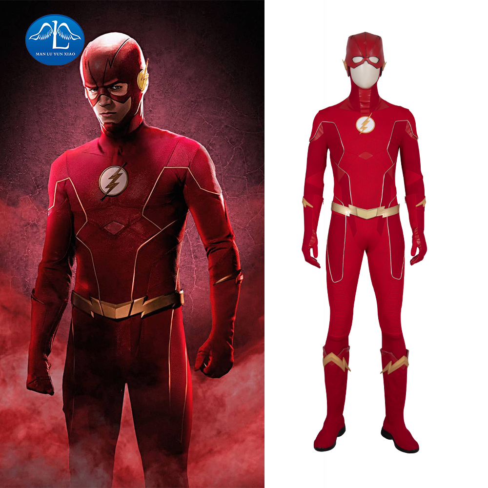 <font><b>The</b></font> <font><b>Flash</b></font> Season 6 <font><b>Cosplay</b></font> Barry Allen Costume <font><b>The</b></font> <font><b>Flash</b></font> Halloween Arrowverse Adult Jumpsuit Custom made <font><b>Boots</b></font> Carnival Red Suit image