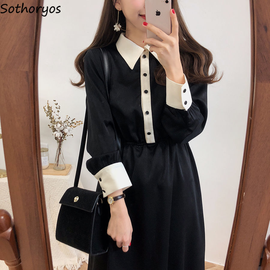 Long Sleeve Dress Women Patchwork A-line Mid-long Plus Size 4XL Casual Womens Clothing High Quality Harajuku Korean Style Daily(China)