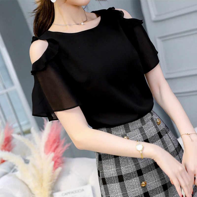 2020 Zomer Nieuwe Vrouwen Blouses Solid Red Ruches Korte Mouwen Chiffon Famale O-hals Shirt Plus Size Xxxl