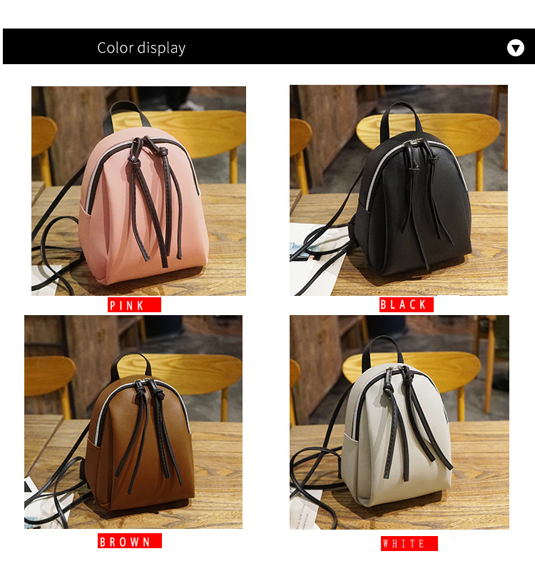 Casual Small Waterproof Backpack Women Solid Color Pu Leather School Bag Simpl