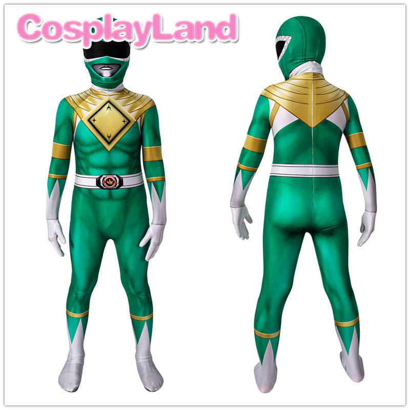 Mighty Morphin ZYURANGER Burai Cosplay Costume Green Dragon Ranger Zentai Outfit