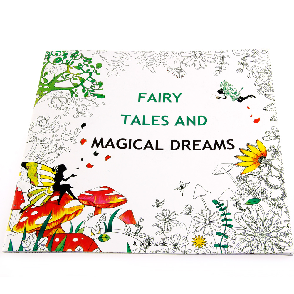 Drop Ship 25*25CM Fairy Tales And Magical Dreams Children Adult Graffiti Coloring Book