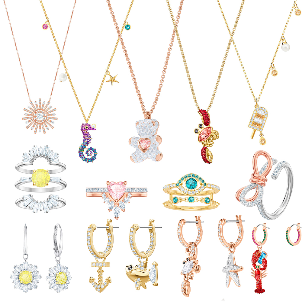 SWA Delicate Women's Necklace Original New OCEAN SEAHORSE CRAB TEDDY Pendant Set Shining Crystal For Lovers Luxury Jewelry Gifts